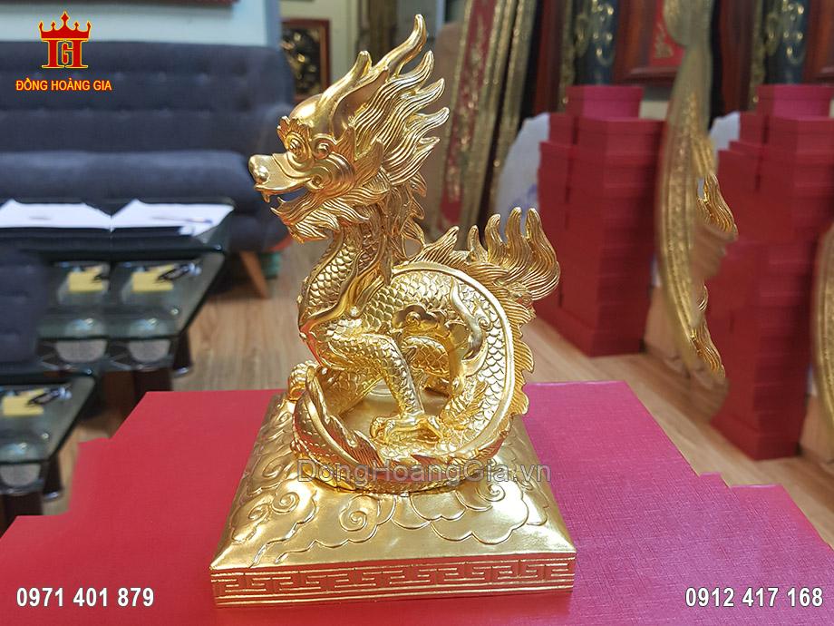 Tượng Đồng Linh Vật Rồng Dát Vàng 9999