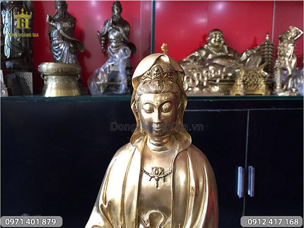 Tượng đồng Phật Bà Quan Âm cao 40cm