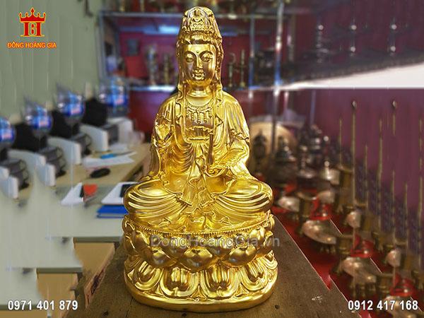 Tượng Đồng Phật Bà Quan Thế Âm Bồ Tát Tay Cầm Bình Cam Lộ Dát Vàng 9999