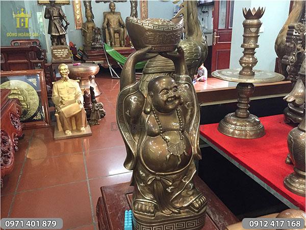Tượng đồng Phật Di Lặc mẫu đứng giơ đỉnh Bạc