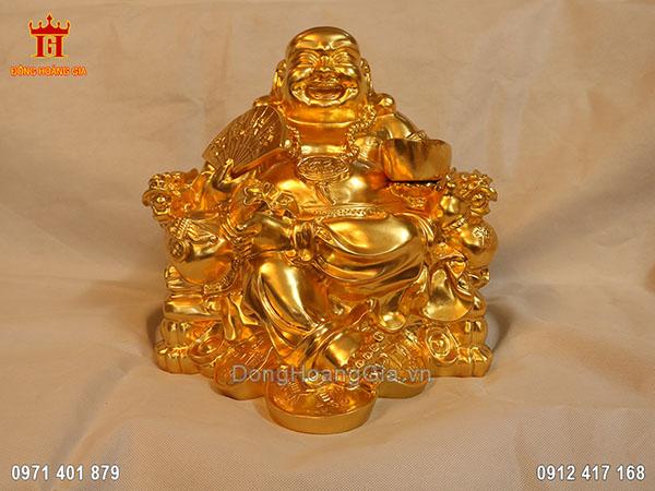 Tượng đồng Phật Di Lặc ngồi dát vàng 24K