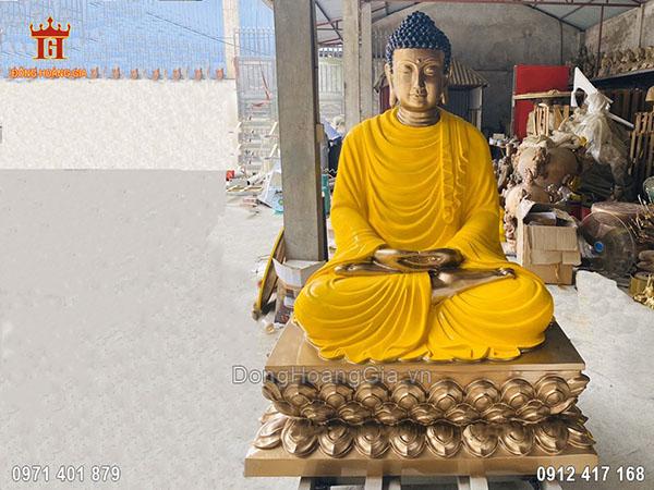 Tượng đồng Phật Thích Ca ngồi bệ sen cao 2m