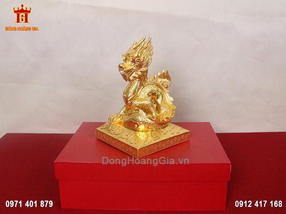 Tượng đồng rồng phong thủy dát vàng 9999