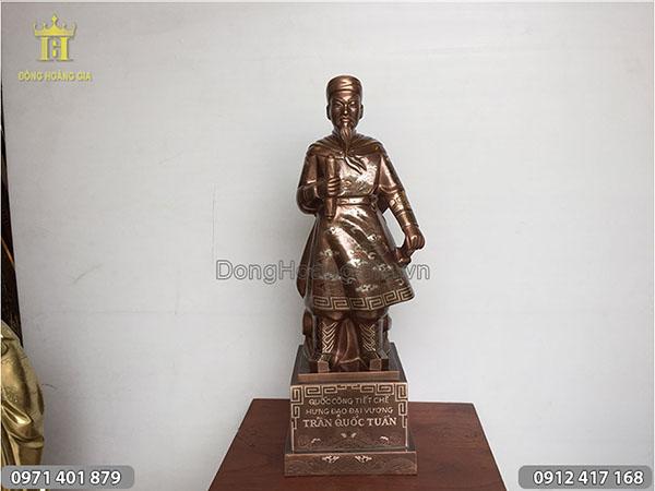 Tượng đồng Trần Hưng Đạo khảm ngũ sắc 70cm
