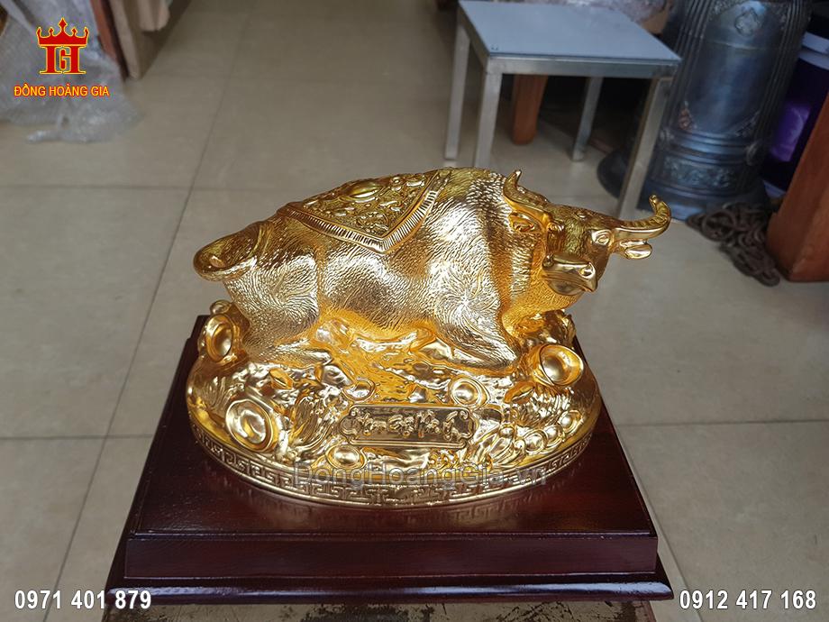 Tượng Đồng Trâu Dát Vàng 9999 25Cm