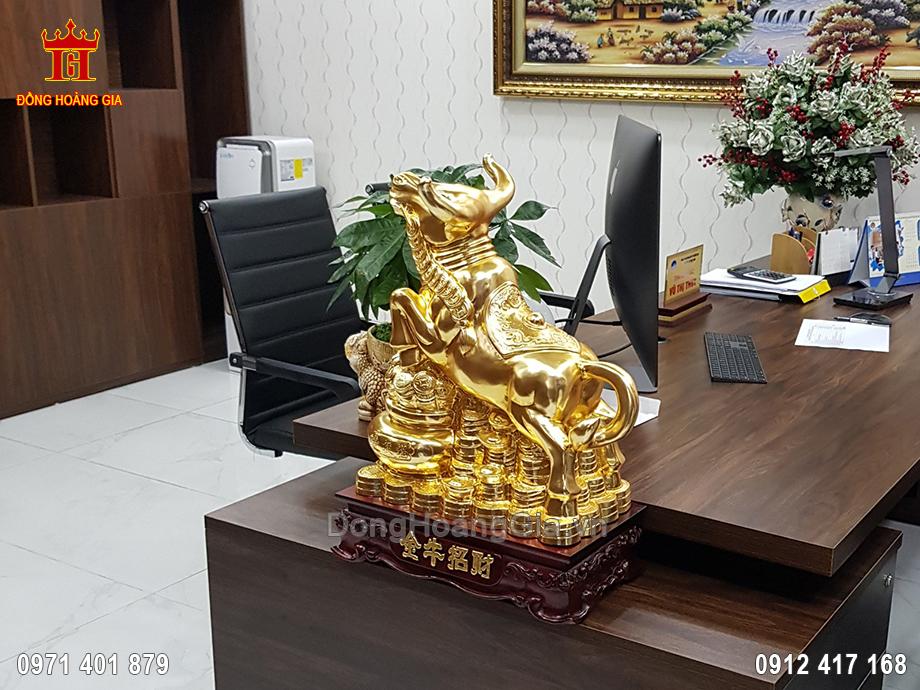 Tượng Đồng Trâu Tài Lộc Dát Vàng 9999 48Cm