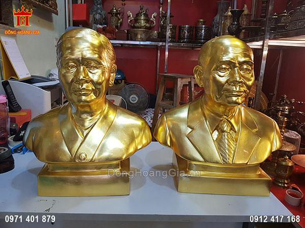 Tượng Đồng Truyền Thần Cụ Ông Cụ Bà Bán Thân Dát Vàng 9999