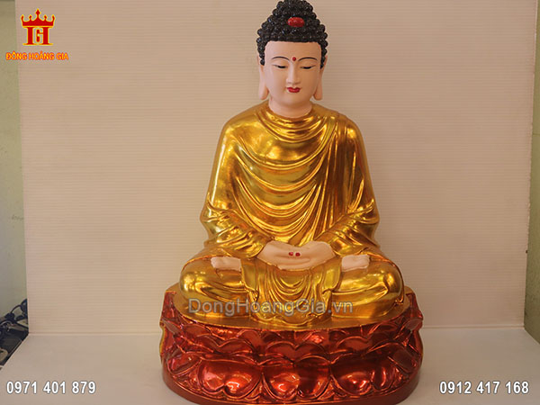 Tượng đức Phật bằng đồng sơn son thiếp vàng