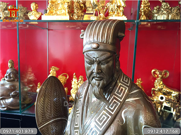 Tượng Khổng Minh khảm tam khí cao 70cm