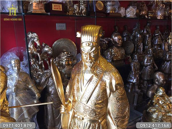 Tượng Khổng Minh thiếp vàng cao 70cm