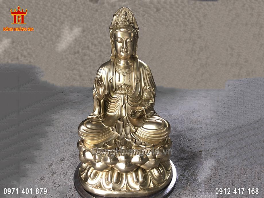 Tượng Phật Bà Quan Âm Bằng Đồng Vàng