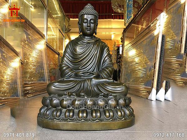 Tượng Phật Bổn Sư Màu Giả Cổ 50Cm