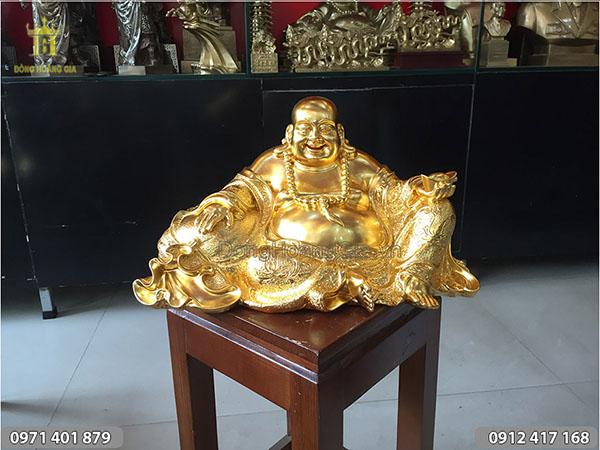 Tượng Phật Di Lặc bằng đồng dát vàng 30cm