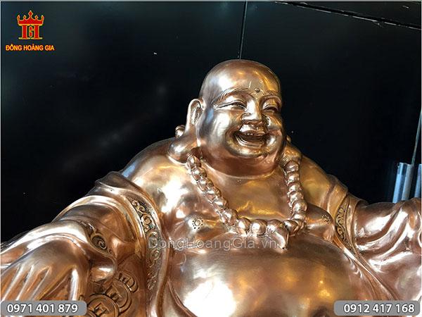 Tượng Phật Di Lặc ngồi bằng đồng đỏ 50cm