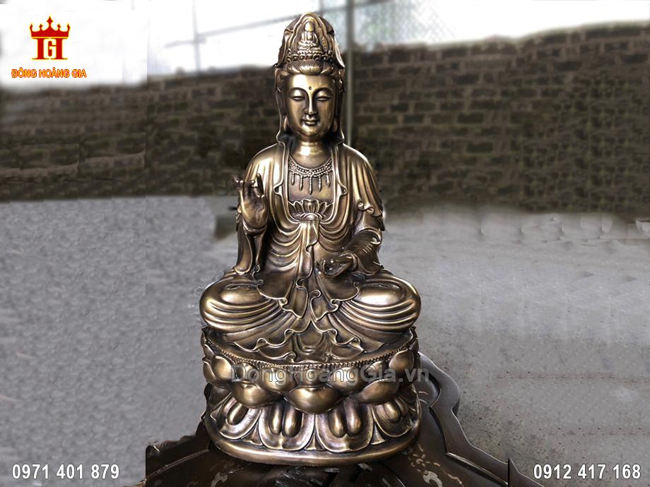 Tượng Phật Quan Âm Bằng Đồng Vàng Hun Giả Cổ