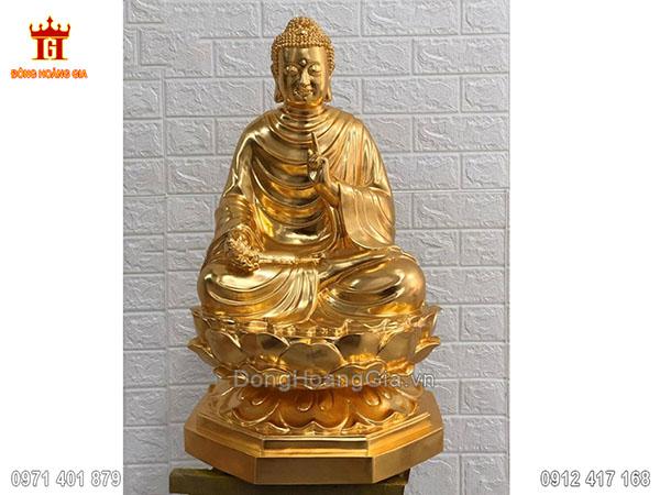 Tượng Phật Thích Ca bằng đồng dát vàng 9999