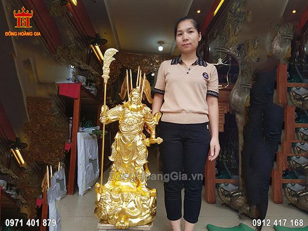 Tượng Quan Công Đứng Chống Đao Cầm Gươm Dát Vàng 9999 70Cm
