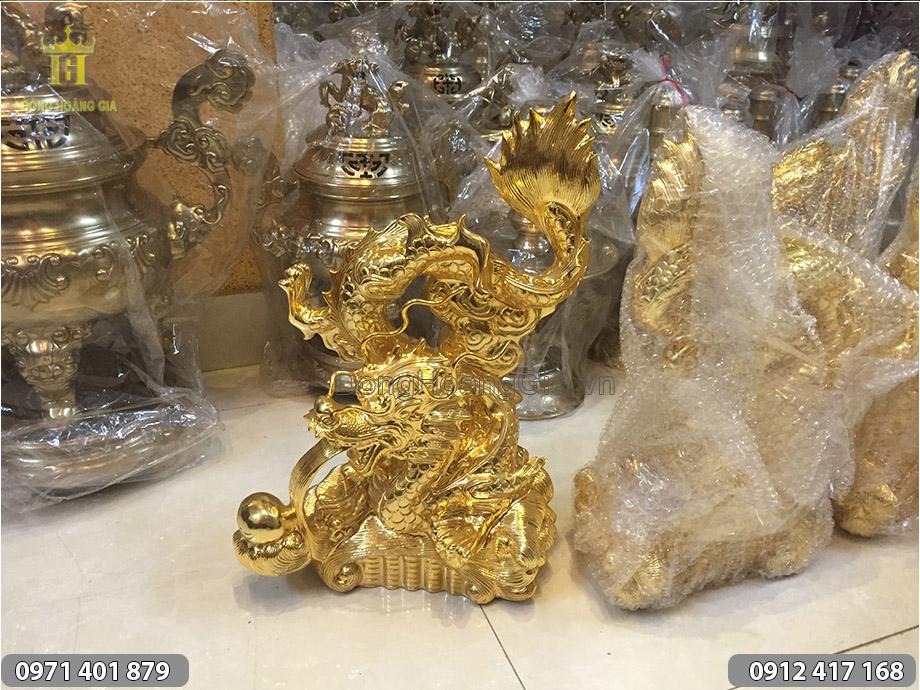 Tượng Rồng hí ngọc mạ vàng 24K cao 50cm