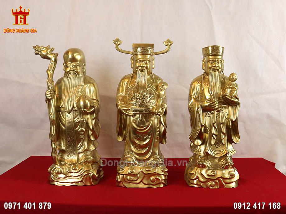 Tượng Tam Đa Phúc Lộc Thọ bằng đồng vàng