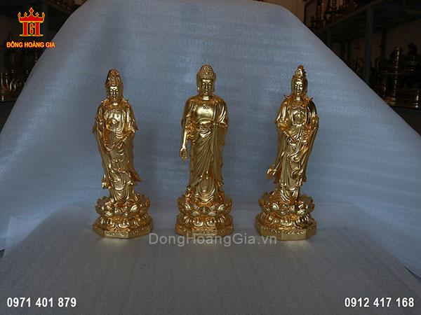 Tượng Phật Tam Thế đứng bằng đồng vàng
