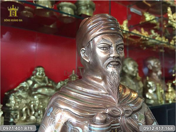 Tượng Trần Hưng Đạo khảm ngũ sắc 50cm